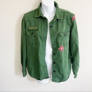 Forever 21 Army Green Patch  Military Button Down